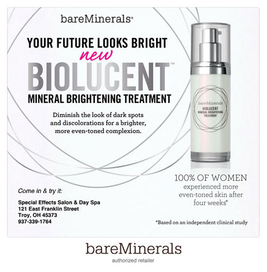 Biolucent Mineral Brightening Treat Availabale at Special Effects Salon & Day Spa | Troy, OH